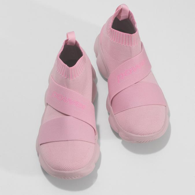 Členkové ružové dámske tenisky z úpletu power, ružová, 509-5237 - 16