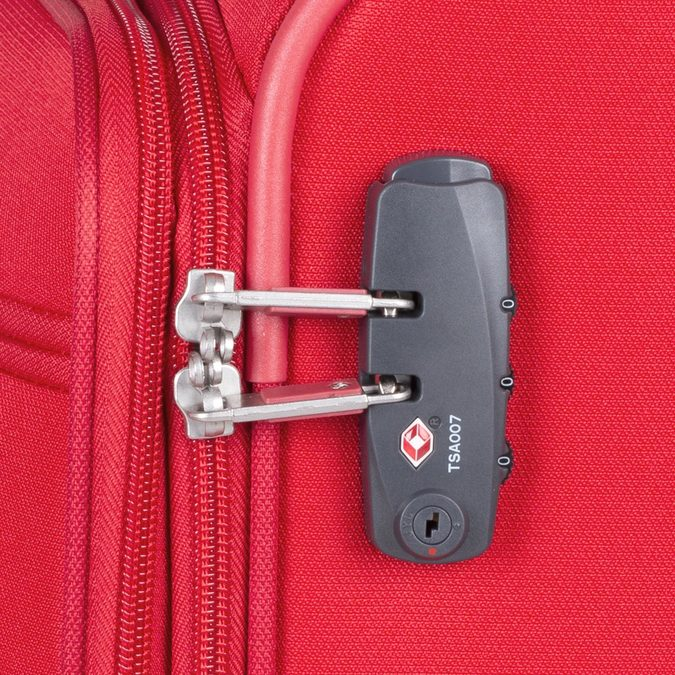 Veľký červený textilný kufor samsonite, červená, 960-5041 - 16