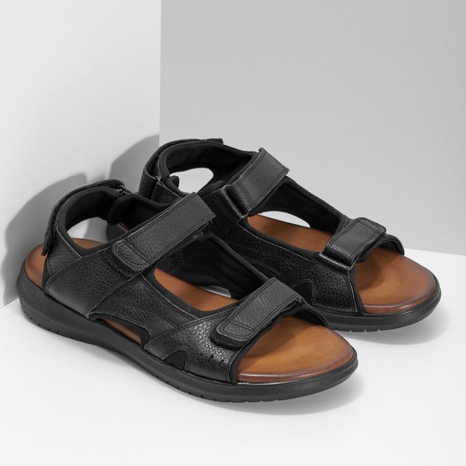Pánske sandále kožené comfit, čierna, 864-6732 - 26