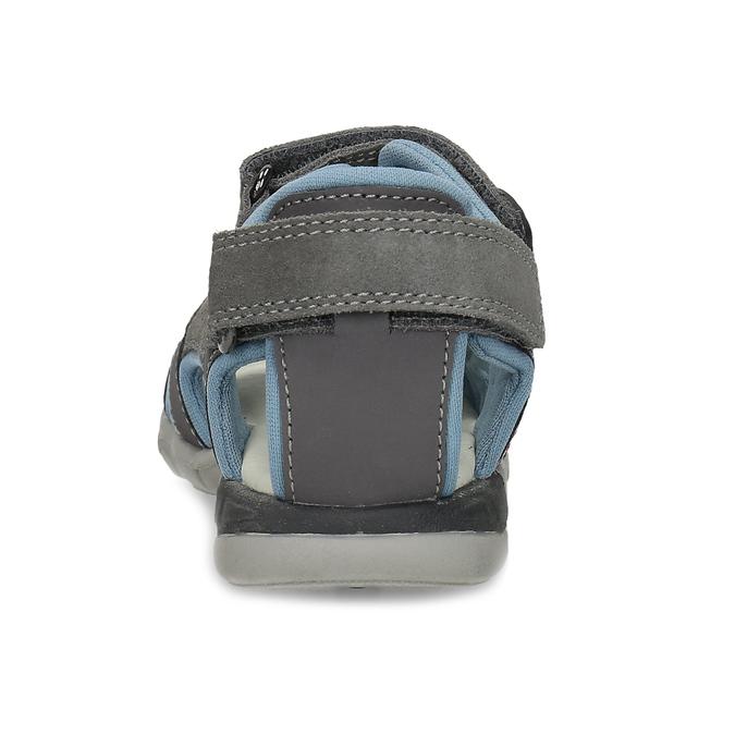 Chlapčenské šedé kožené sandále mini-b, šedá, 263-2605 - 15
