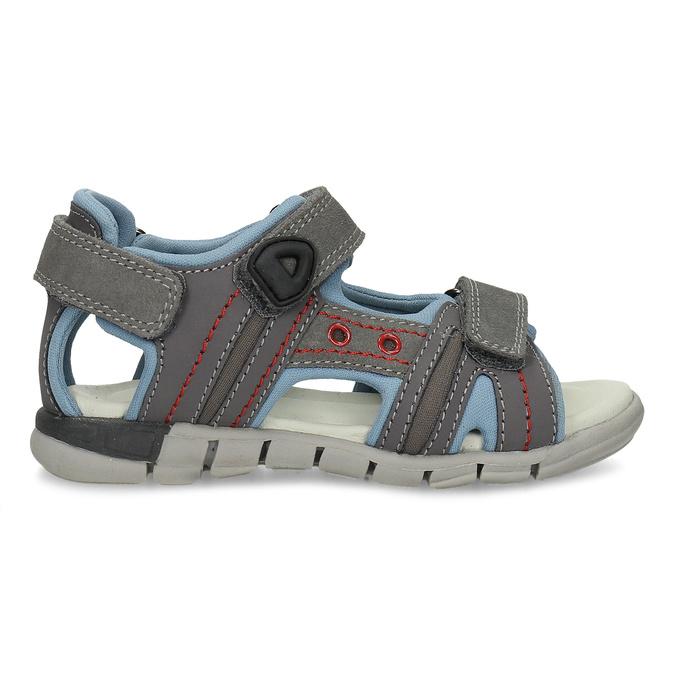 Chlapčenské šedé kožené sandále mini-b, šedá, 263-2605 - 19