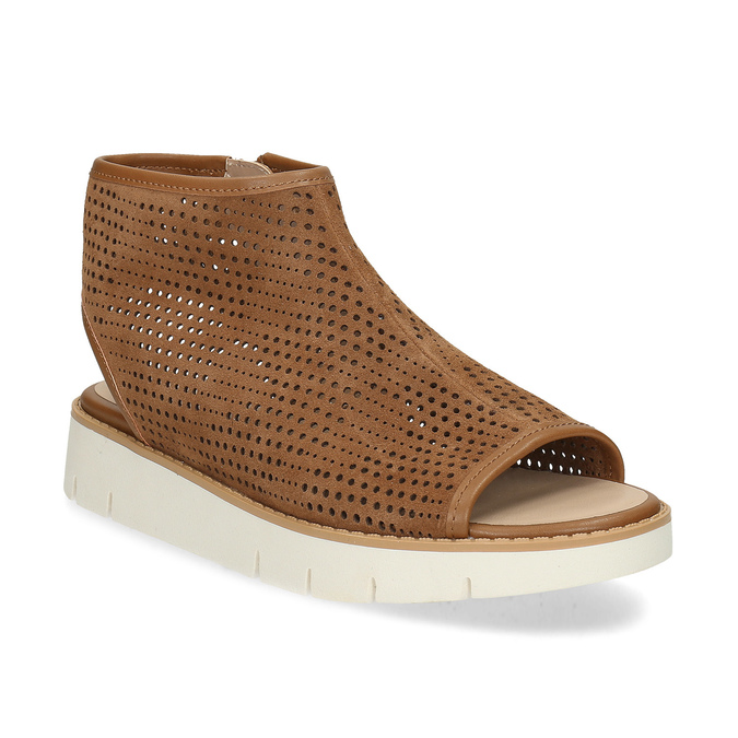 8def40646d1b Flexible Hnedé dámske kožené sandále s perforáciou - Bez podpätku ...