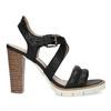 Kožené čierne sandále na prírodnom podpätku flexible, čierna, 763-6631 - 19