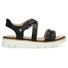 Čierne dámske kožené sandále na svetlej podrážke flexible, čierna, 563-6601 - 19
