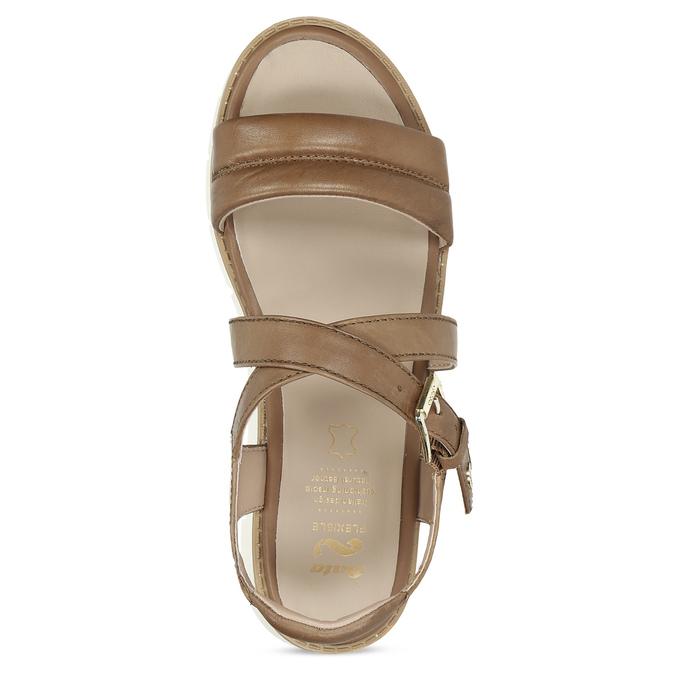 Dámske kožené sandále na svetlej podrážke flexible, hnedá, 563-4601 - 17