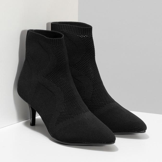 Čierna členková obuv na podpätku bata-b-flex, čierna, 799-6648 - 26