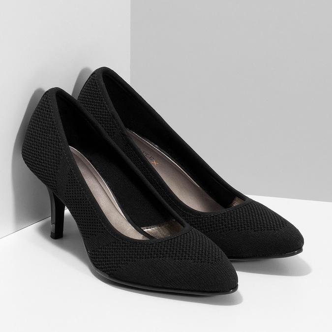 Čierne ležérne dámske lodičky s perforáciou bata-b-flex, čierna, 729-6641 - 26