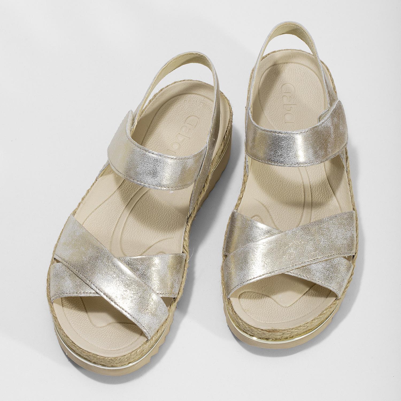 9a374af4ec73c ... Zlaté kožené sandále s prírodnou podrážkou gabor, zlatá, 566-8601 - 16  ...