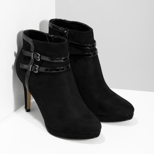Členkové čierne čižmy na ihličkovom podpätku bata, čierna, 799-6624 - 26