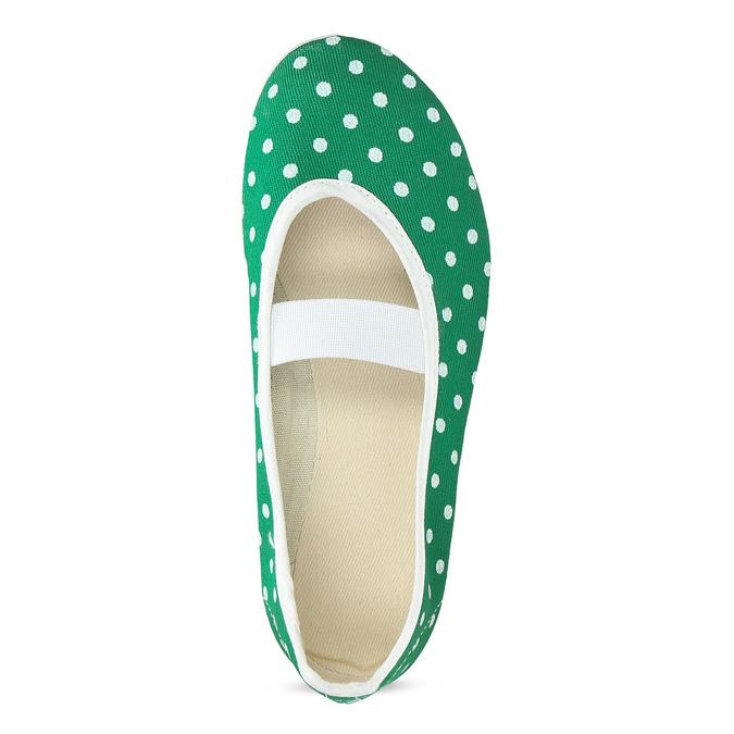 Zelené detské prezuvky s bodkami bata, zelená, 379-7100 - 17