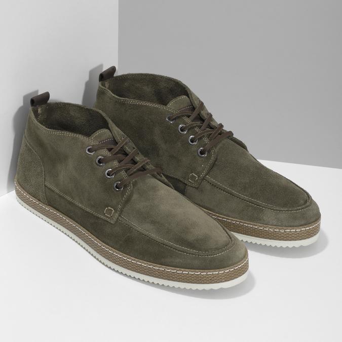Členková pánska obuv z brúsenej kože bata, zelená, 823-7605 - 26