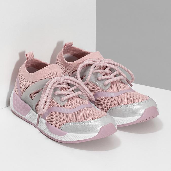 Ružové detské tenisky v pletenom dizajne mini-b, ružová, 329-5282 - 26