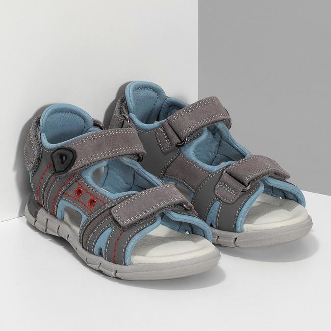 Chlapčenské šedé kožené sandále mini-b, šedá, 263-2605 - 26