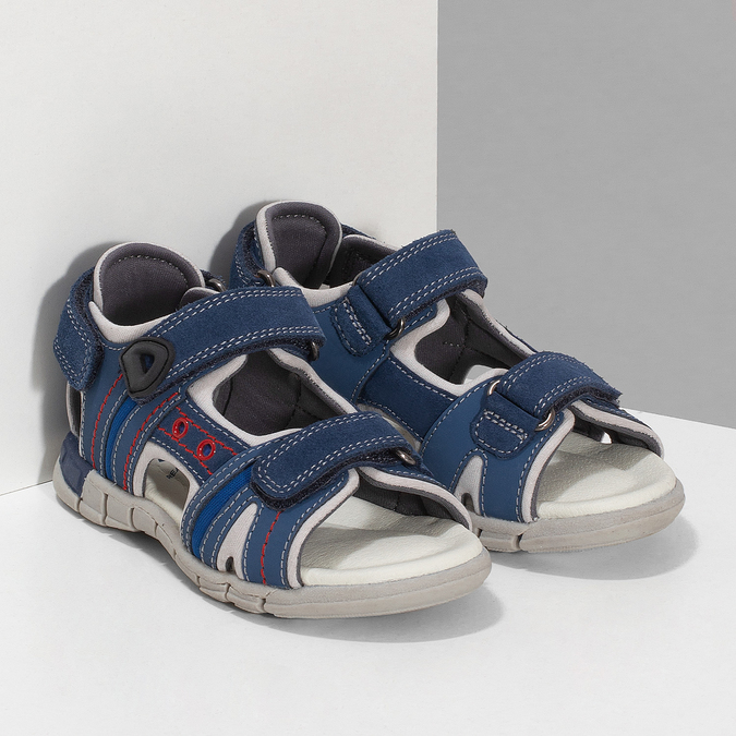 Chlapčenské sandále na suchý zips modré mini-b, modrá, 263-9605 - 26