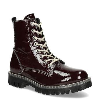 Kožené vínové lakované Worker Boots bata-125th-anniversary, červená, 536-5604 - 13
