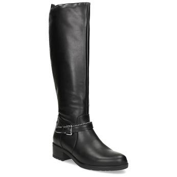Čierne kožené čižmy s prackou bata, čierna, 594-6666 - 13